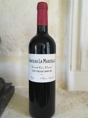 Bottle of Chateau La Marzelle red wine from the Bordeaux region