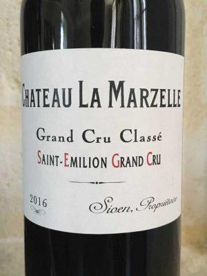 Close up of Chateau La Marzelle wine label