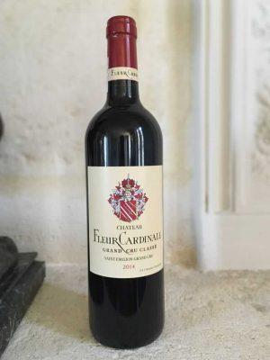 Bottle of Fleur Cardinale red wine from the Bordeaux region