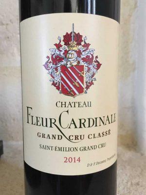 close up of Fleur Cardinale red wine label