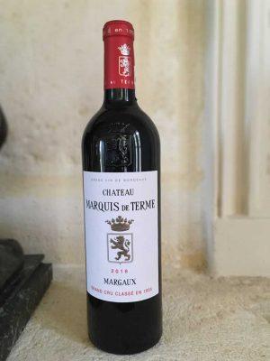 Bottle of Chateau Marquis de Terme from the Bordeaux Wine Region