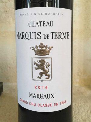 Close up of Chateau Marquis de Terme Wine Label