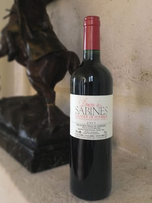 Bottle of Domaine Des Sabine red wine from Bordeaux