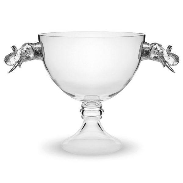 Large Elephant Pedestal Glass Bowl